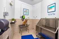 After a good run in the park, wash your dog in the our convenient dog wash area.